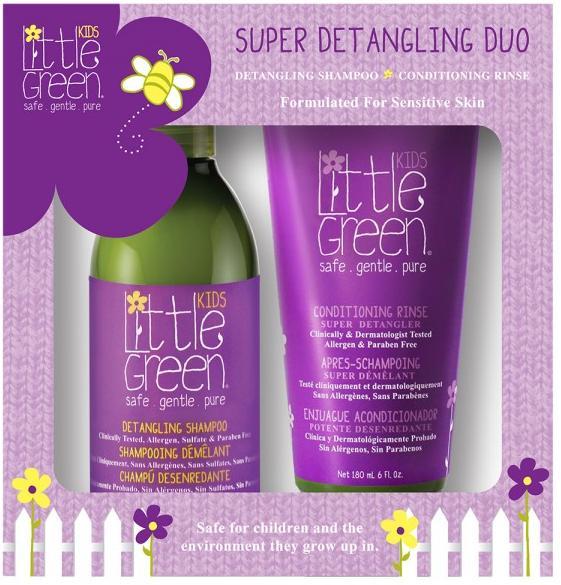 Little Green Kids Набор для облегчения расчесывания и распутывания волос для детей от 12 мес