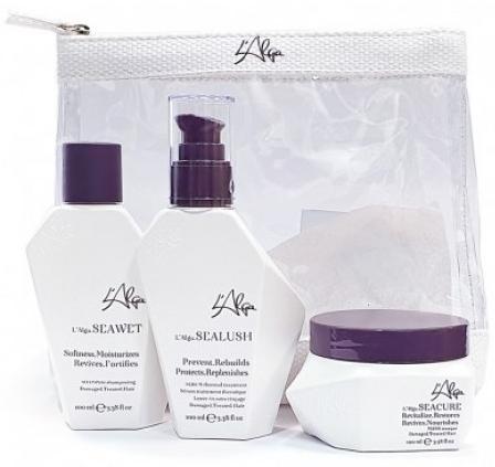 L′Alga Дорожный набор Глубокое восстановление волос в прозрачной косметичке