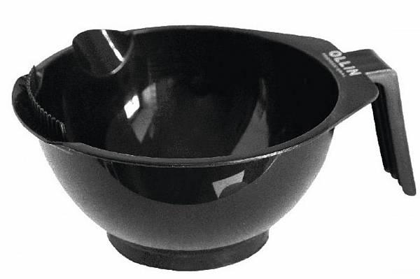 Миска для окрашивания чёрная с ручкой носиком и зубчиками Ollin Professional